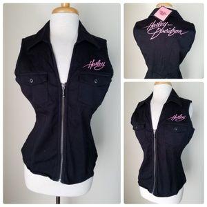 NWT Harley-Davidson Black Vest Zip Up Sleeveless